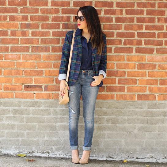 blazer xadres calca jeans